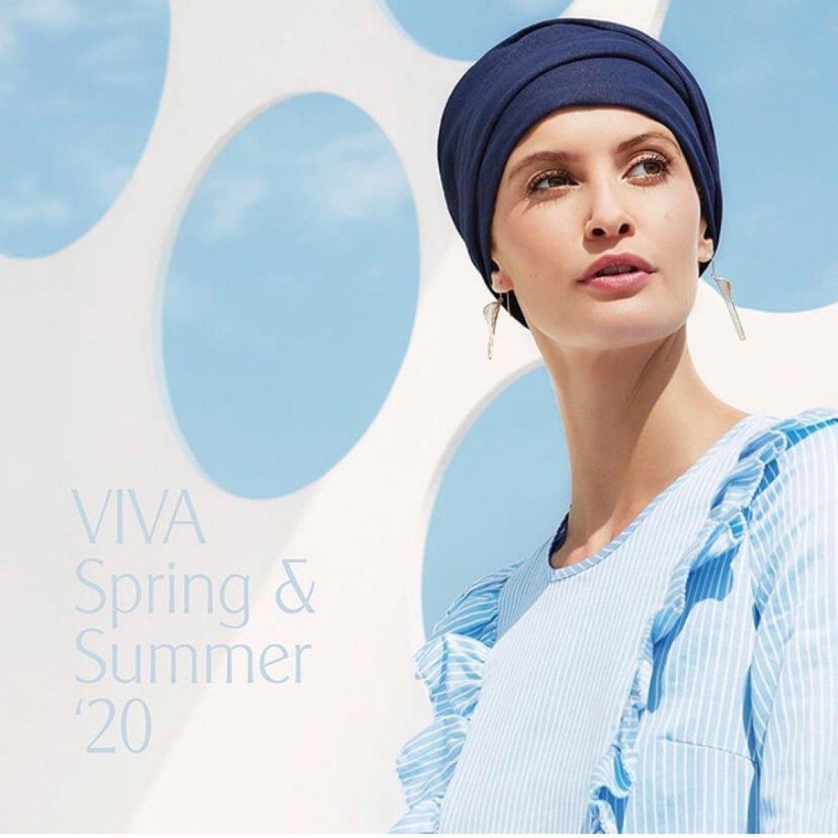 turban chimiothérapie bleu